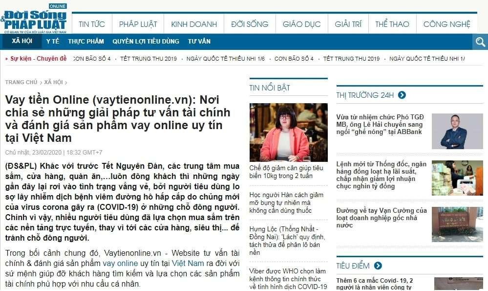 Báo Doisongphapluat nói về vaytienonline