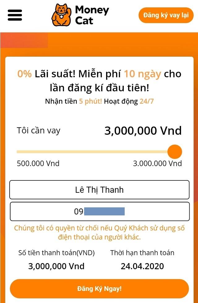 hướng dẫn đăng ký vay tiền nhanh MoneyCat