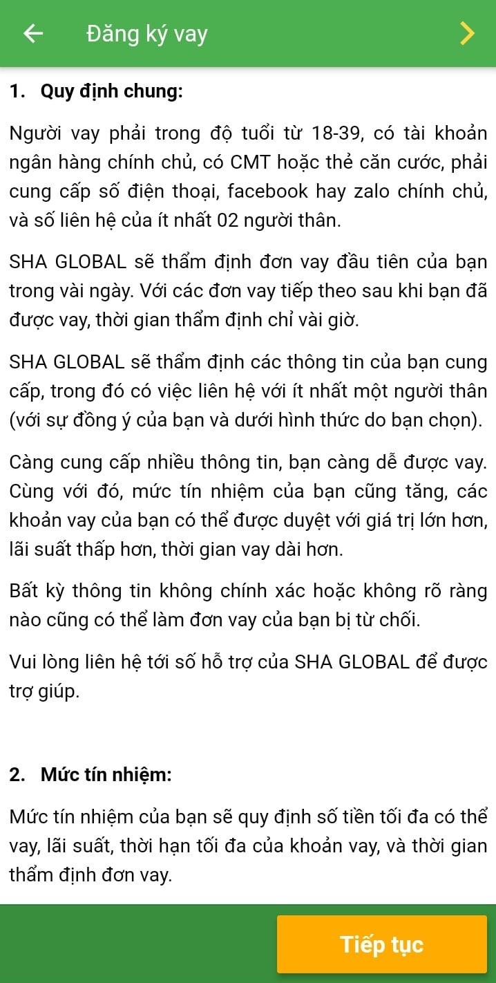 Hướng dẫn đăng ký vay SHA