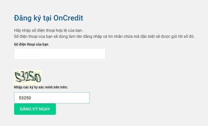 Hướng dẫn đăng ký vay tiền Oncredit