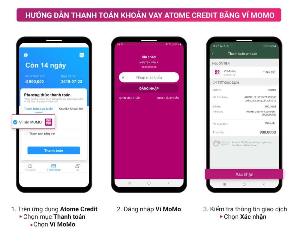 Hướng dẫn thanh toán khoản vay cho Atome Credit