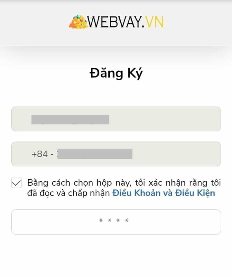 Đăng ký tài khoản WebVay vơi số điện thoại