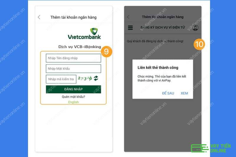 Đăng nhập Internet Banking trên ví điện tử để hoàn tất thủ tục liên kết