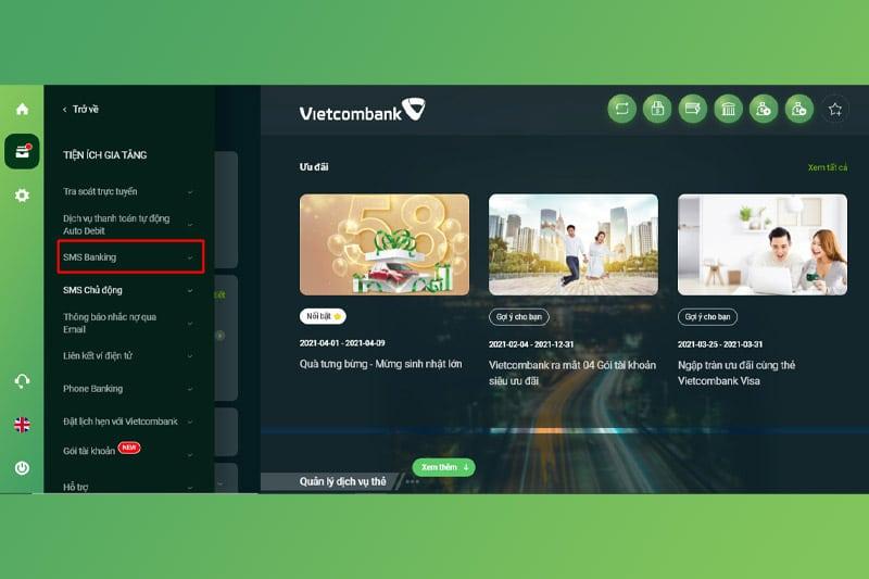 Đăng ký SMS Banking Vietcombank qua Internet Banking