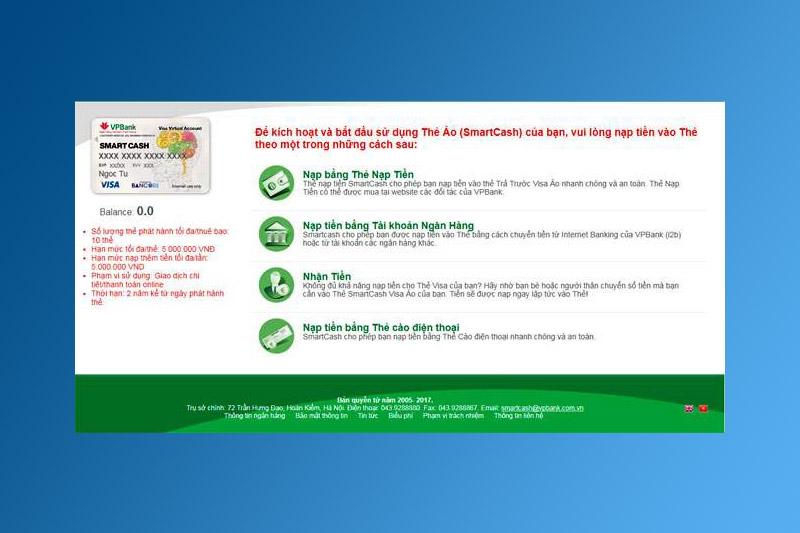 Chọn hình thức thanh toán thẻ Visa ảo