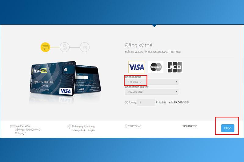Chọn loại thẻ và mệnh giá thẻ