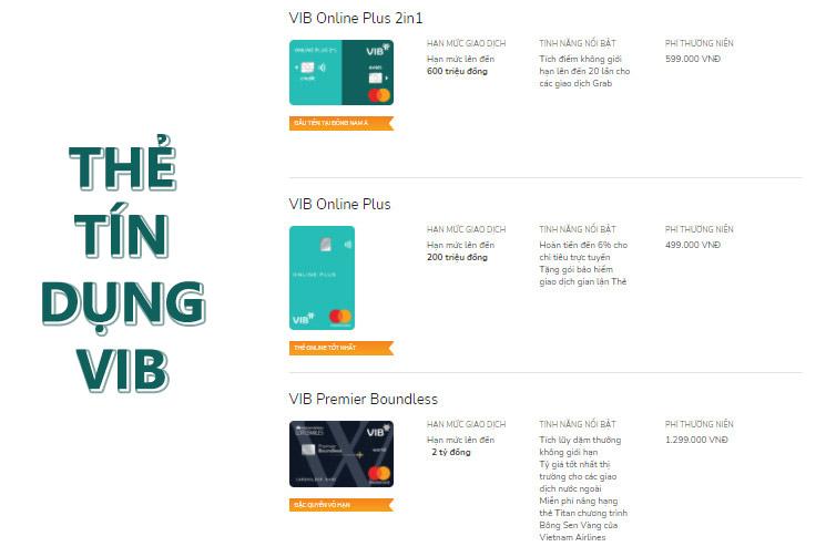 Các loại thẻ tín dụng được cung cấp bởi VIB
