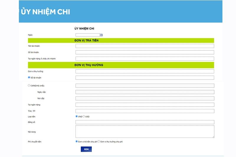 Điền thông tin vào phiếu ủy nhiệm chi online