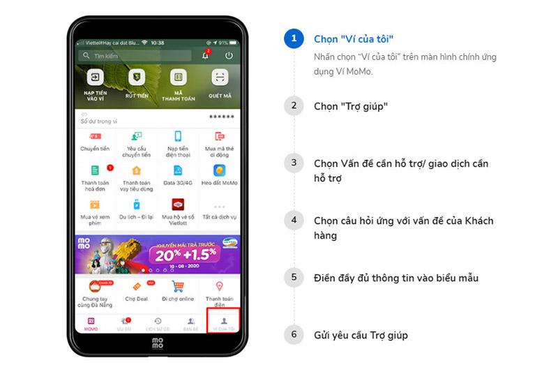 Kênh hỗ trợ người dùng trên ứng dụng ví điện tử MoMo