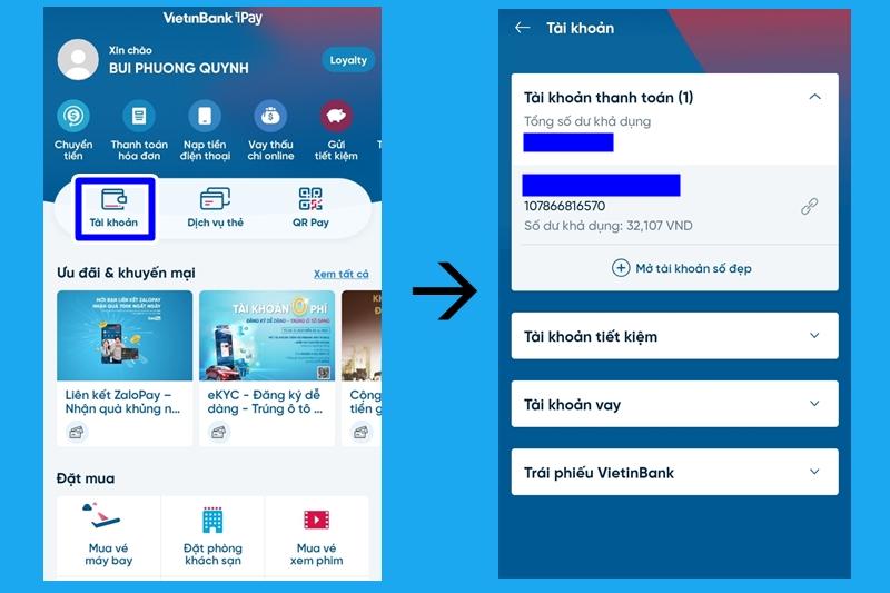Tra cứu số tài khoản trên ứng dụng Vietinbank Ipay