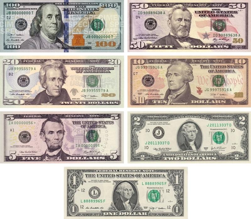 Các loại tiền giấy của Mỹ hiện nay