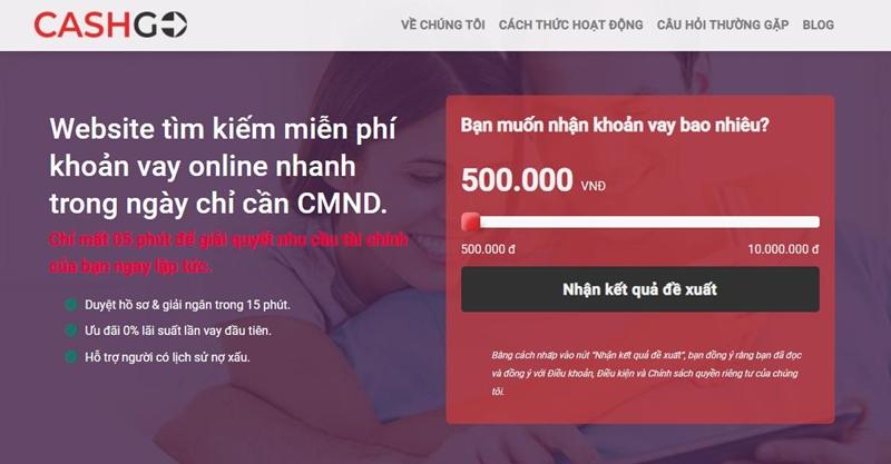 Truy cập website CashGo và chọn hạn mức vay