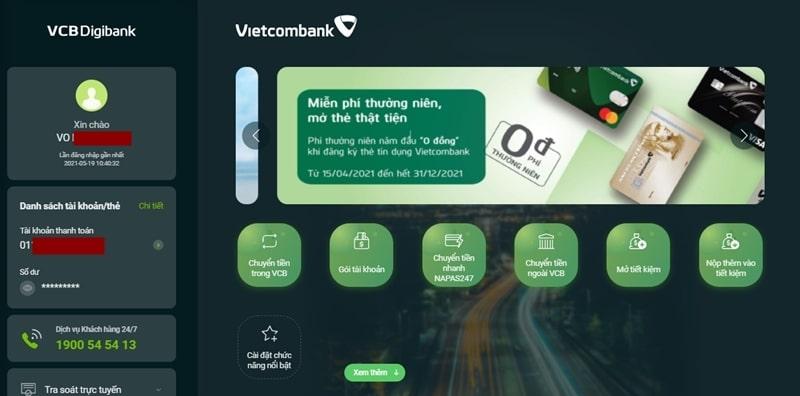 Đăng nhập tài khoản VCB Digibank