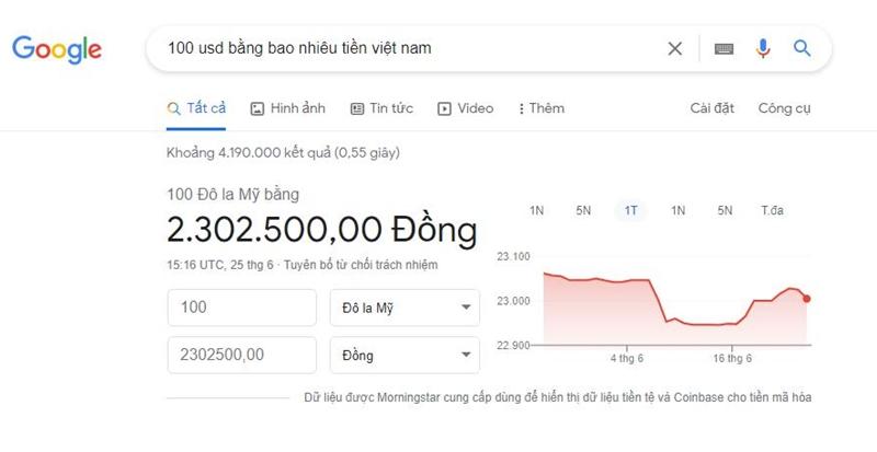Tỷ giá đô la Mỹ được tra cứu dễ dàng qua Google search