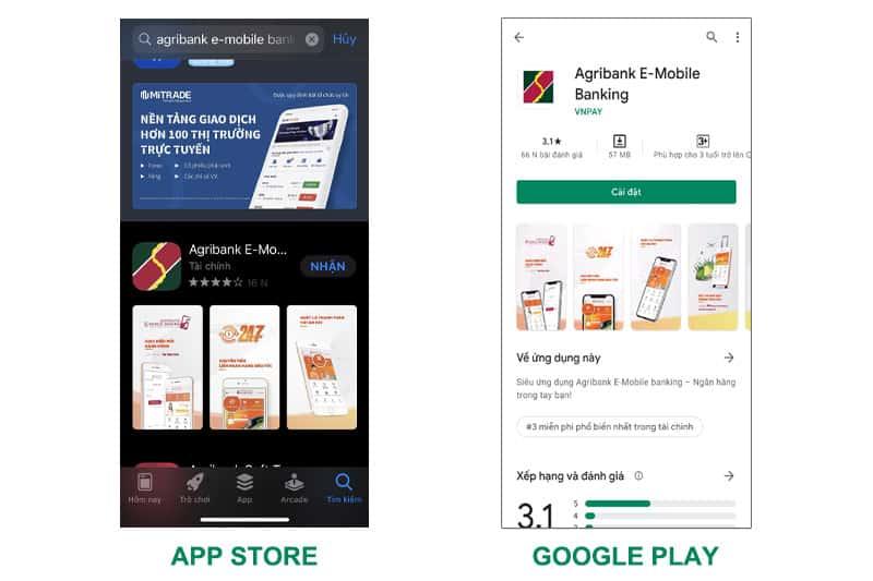 Tải và cài đặt ứng dụng Agribank E-Mobile Banking kích hoạt để sử dụng