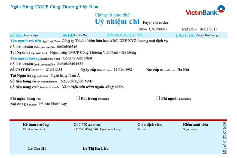 Giấy ủy nhiệm chi Vietinbank