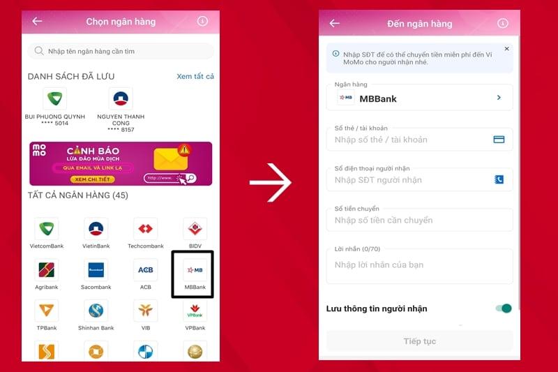 Chọn ngân hàng MBBank và nhập thông tin số tiền cần nạp, số tài khoản và tên người nhận