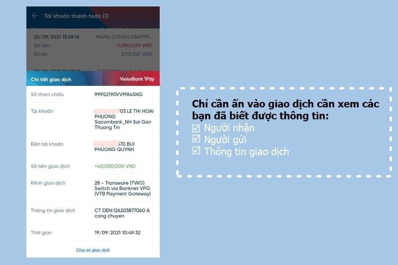 Xem thông tin người gửi và số tài khoản dễ dàng