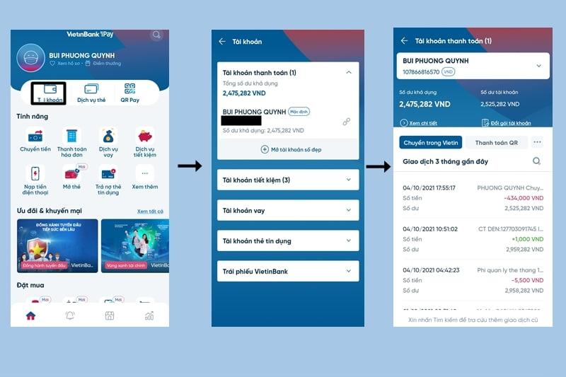 Đăng nhập Internet banking để kiểm tra tài khoản